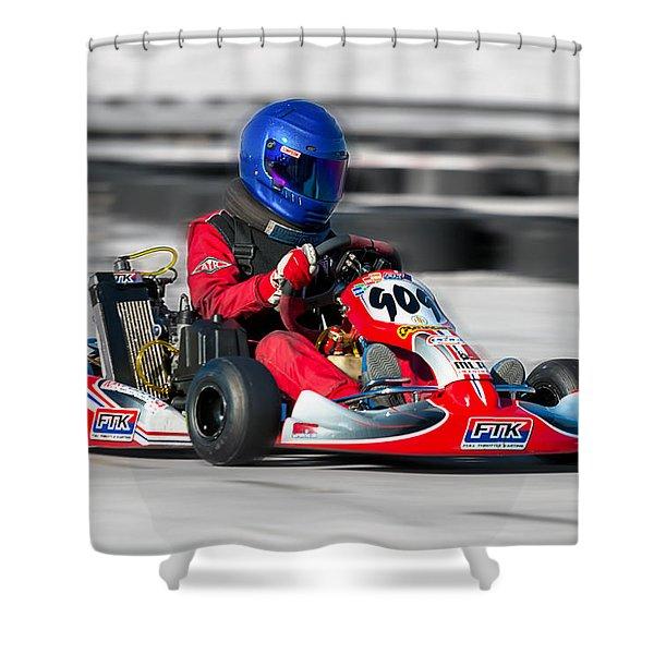 Shower Curtain featuring the photograph Racing Go Kart by Gunter Nezhoda