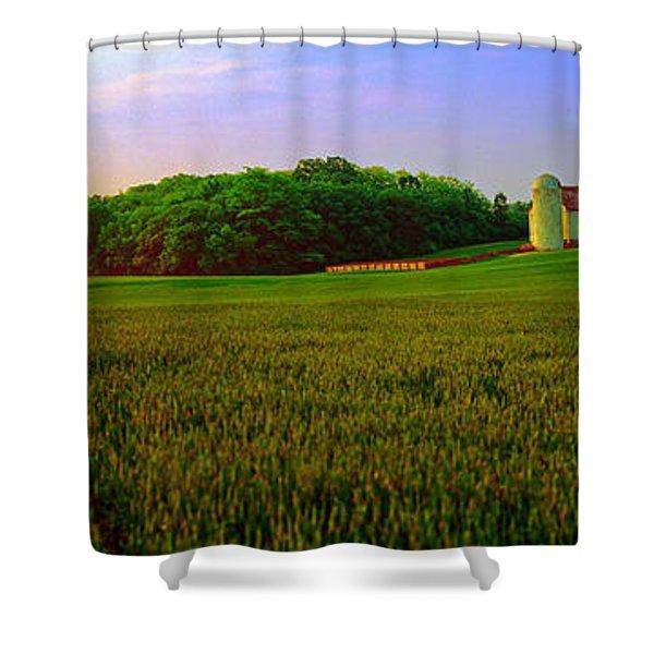 Conley Road, Spring, Field, Barn   Shower Curtain