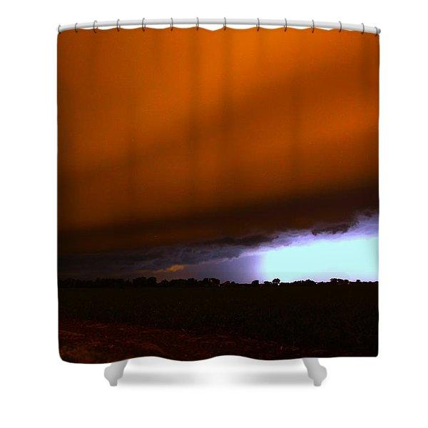 Late Night Nebraska Shelf Cloud Shower Curtain