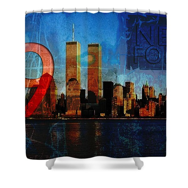 Shower Curtain featuring the photograph 911 Never Forget by Anita Burgermeister