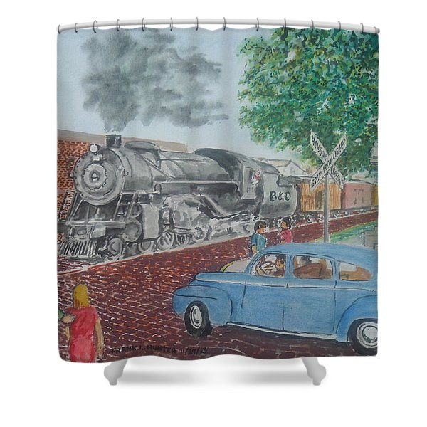 A Baltimore And Ohio Freight Passes Tracy Park Portsmouth Ohio Shower Curtain