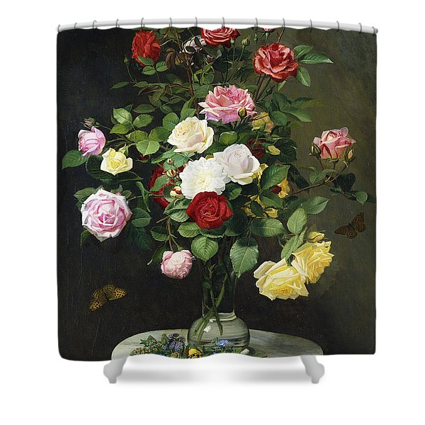 A Bouquet Of Roses In A Glass Vase By Wild Flowers On A Marble Table Shower Curtain