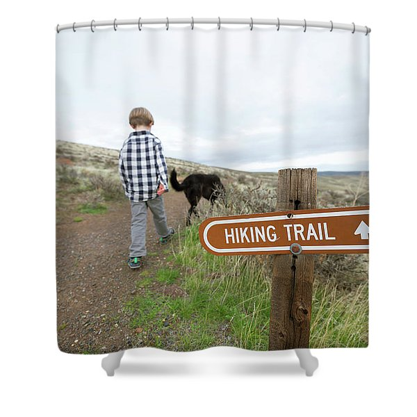 A Boy With His Dog On A Hiking Trail Shower Curtain