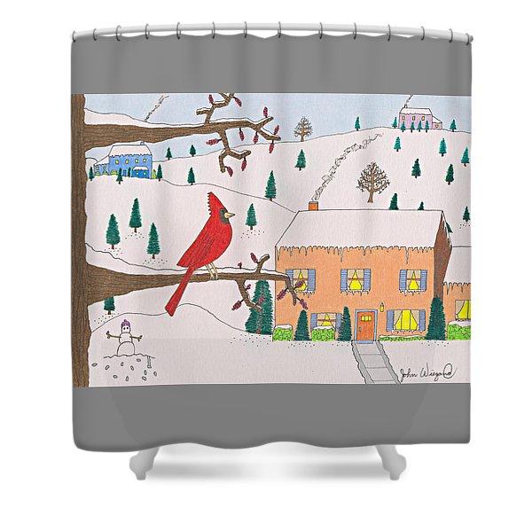 A Cardinal Christmas Shower Curtain