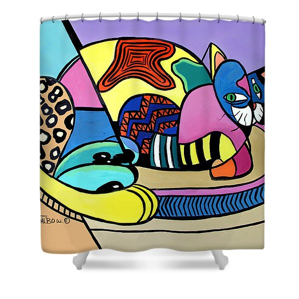 Shower Curtain featuring the painting A Cat Named Picasso by Anthony Falbo