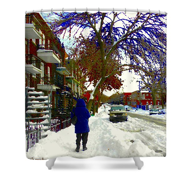 A Cold Day In Verdun Winter Scene Walking Home Streets Of Montreal City Scenes Carole Spandau Shower Curtain