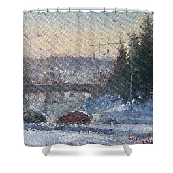 A Cold Morning Shower Curtain