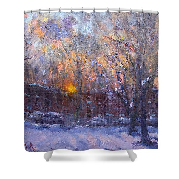 A Cold Winter Sunset  Shower Curtain