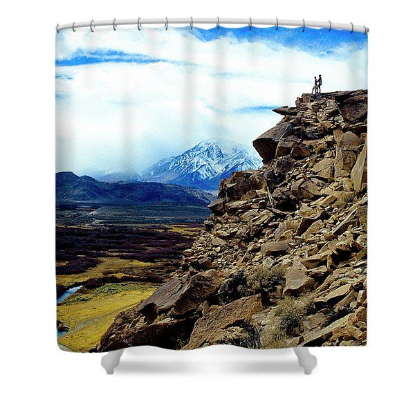 A Couple Stands On Top Of A Lava Butte Shower Curtain