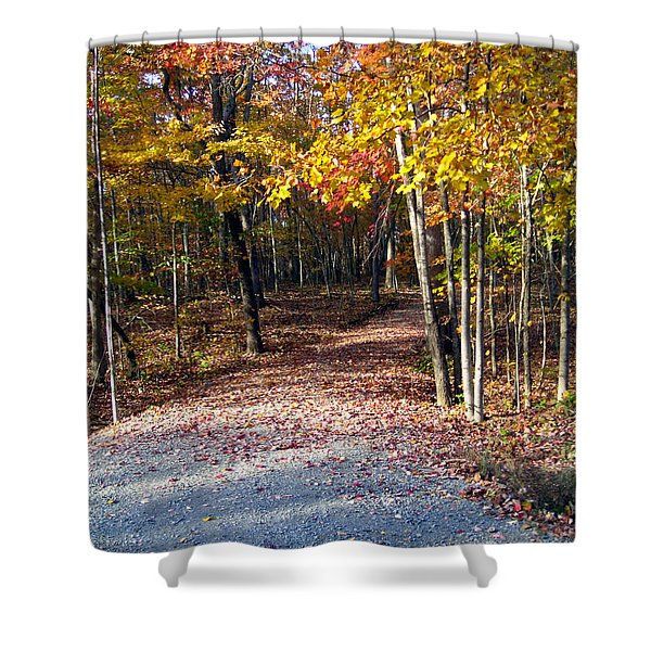 A Courtry Lane In Autumn Shower Curtain
