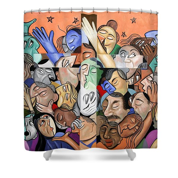 A Cubist Prayer One World One God Shower Curtain