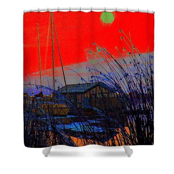 A Digital Marina Sunset Shower Curtain