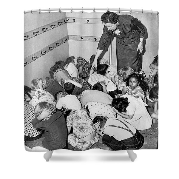 A Duck And Cover Exercise In A Kindergarten Class In 1954 Shower Curtain
