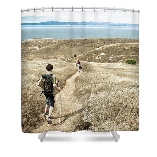 A Family Hikes Across Santa Cruz Island Shower Curtain