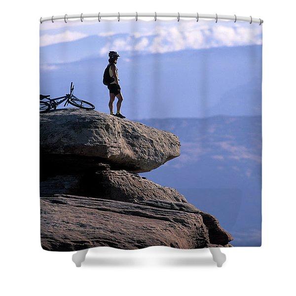 A Female Mountain Biker Stands Shower Curtain
