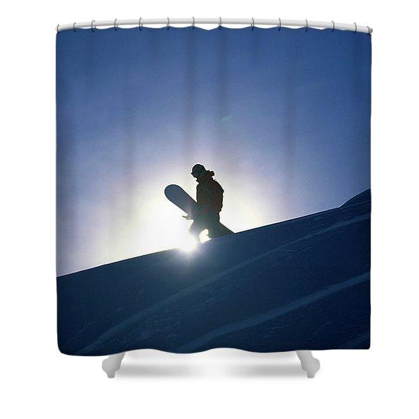 A Female Snowboarder Hiking Shower Curtain