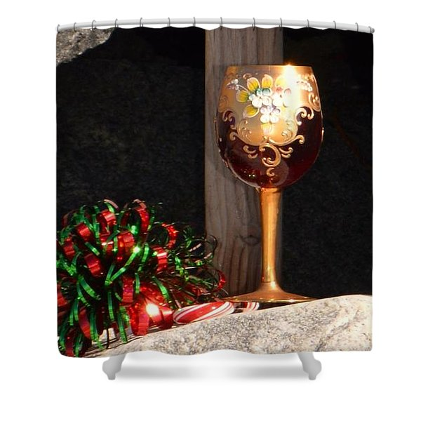 Shower Curtain featuring the photograph A Fine Beach Christmas by Laurie Lundquist
