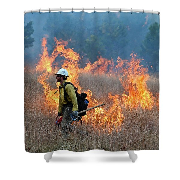 A Firefighter Ignites The Norbeck Prescribed Fire. Shower Curtain