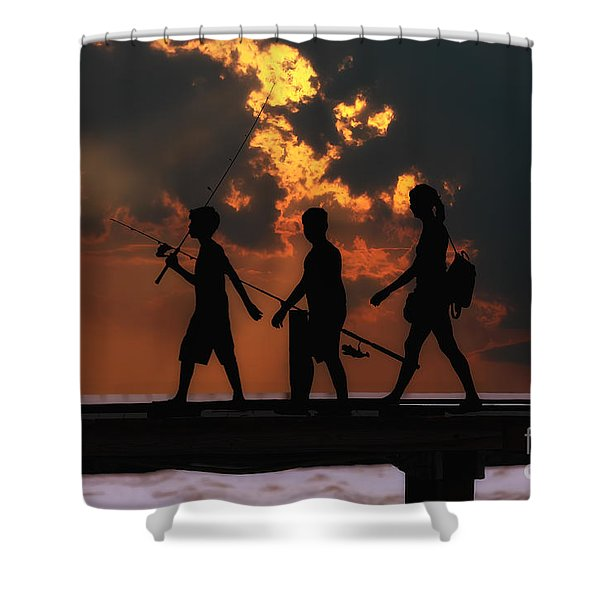 A Fishing We Will Go Shower Curtain