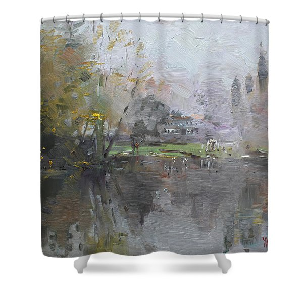 A Foggy Fall Day By The Pond  Shower Curtain