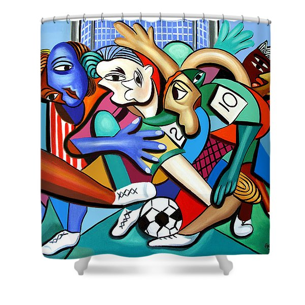 Shower Curtain featuring the painting A Friendly Game Of Soccer by Anthony Falbo
