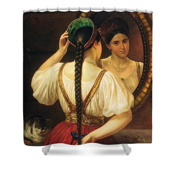 A Girl At The Mirror, 1848 Oil On Canvas Shower Curtain
