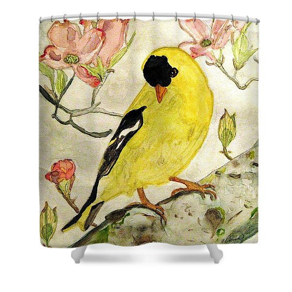 A Goldfinch Spring Shower Curtain