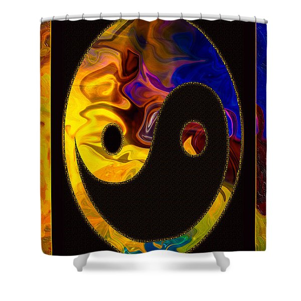 A Happy Balance Of Energies Abstract Healing Art Shower Curtain
