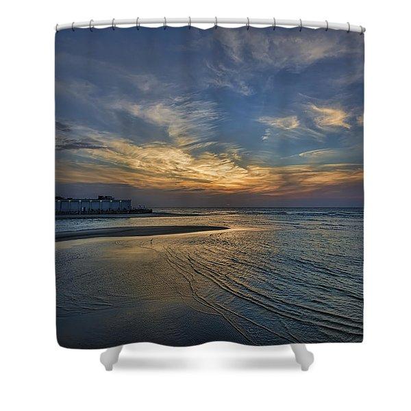 a joyful sunset at Tel Aviv port Shower Curtain