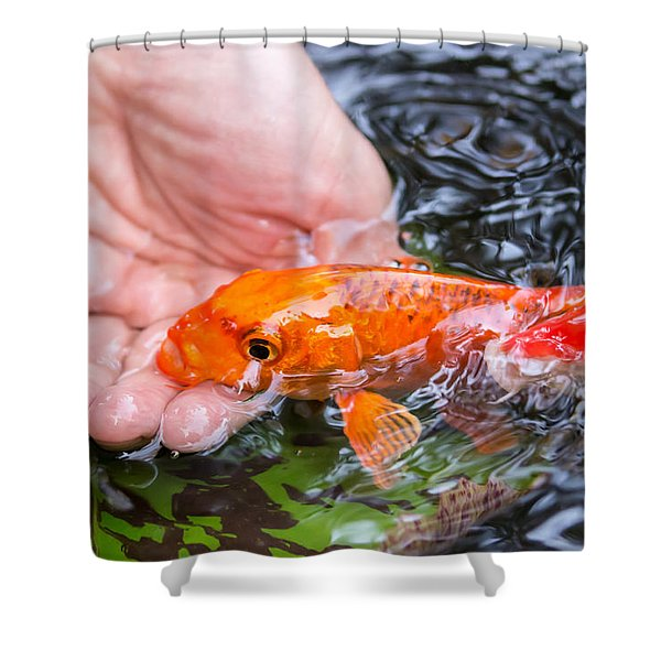 A Koi In The Hand Shower Curtain