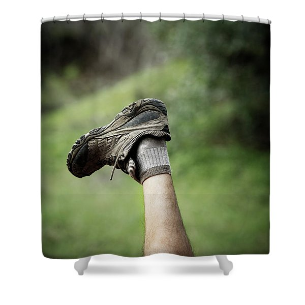 A Leg And Hiking Shoe In The Air Shower Curtain