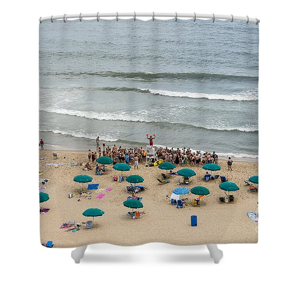 A Lifeguard Gives A Safety Briefing To Beachgoers In Ocean City Maryland Shower Curtain