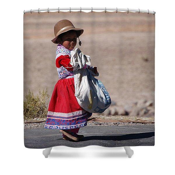 A Little Girl In The  High Plain Shower Curtain