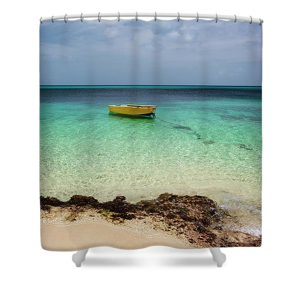 A Lone Boat In The Turquoise Water Shower Curtain