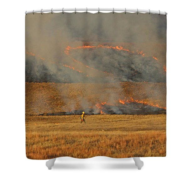 A Lone Firefighter On The Norbeck Prescribed Fire. Shower Curtain