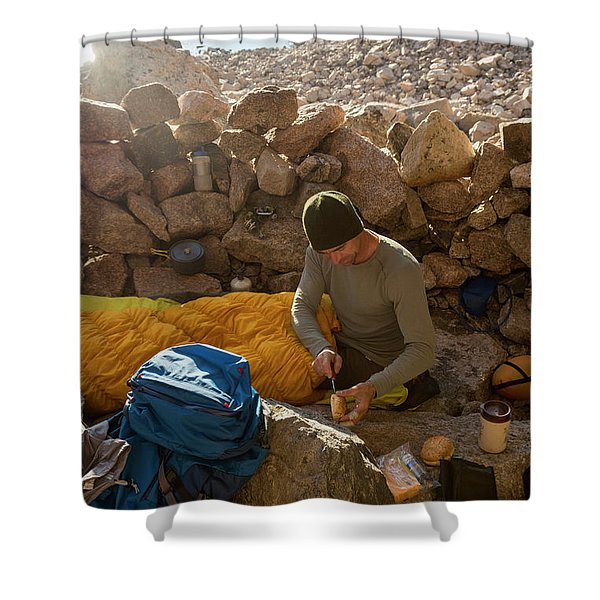 A Male Mountain Climber Getting Ready Shower Curtain