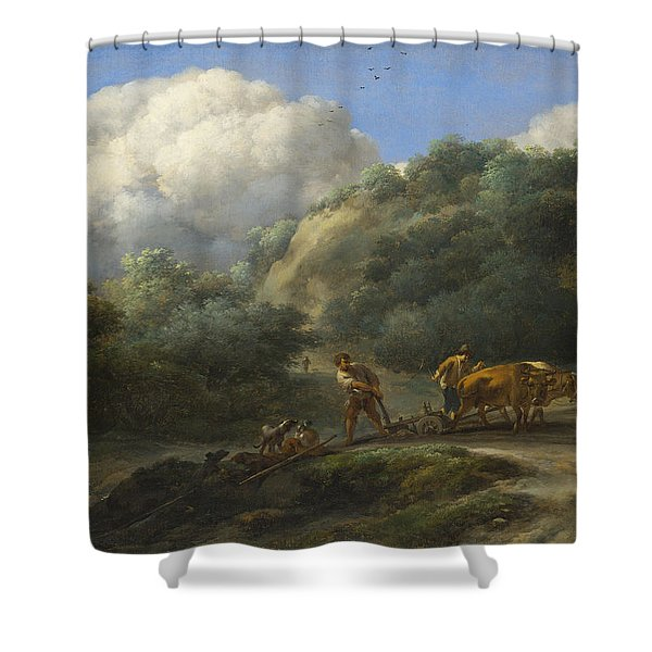 A Man And A Youth Ploughing With Oxen Shower Curtain