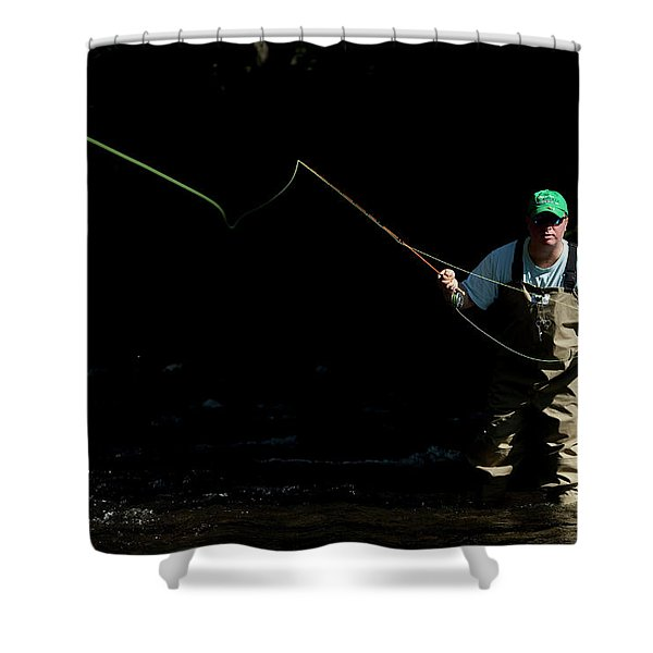 A Man Fly Fishes In Gunpowder State Shower Curtain