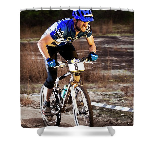 A Man Rides Aggressively Up A Muddy Shower Curtain