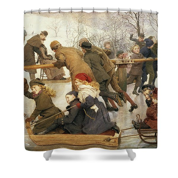 A Merry Go Round On The Ice, 1888 Shower Curtain