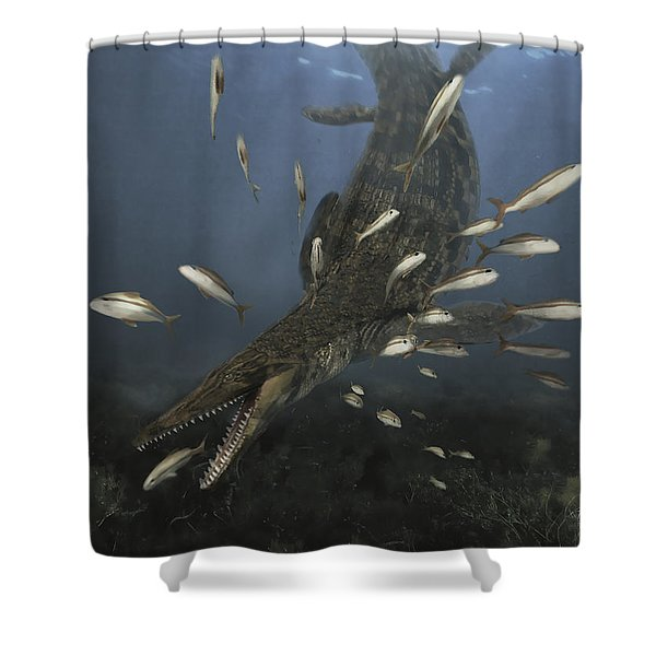 A Mosasaurus Feeds On A Small School Shower Curtain