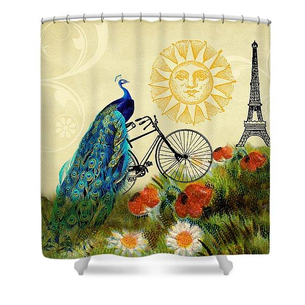 A Peacock In Paris Shower Curtain