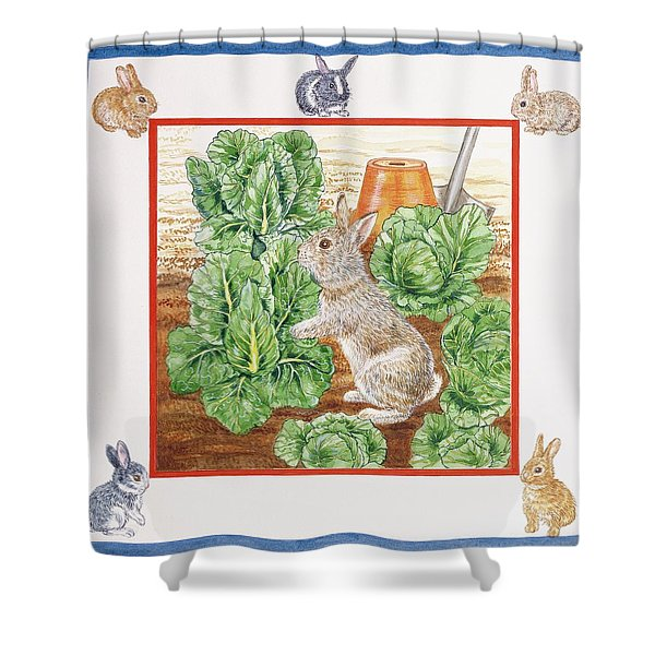 A Rabbit In The Cabbage Patch Wc On Paper Shower Curtain
