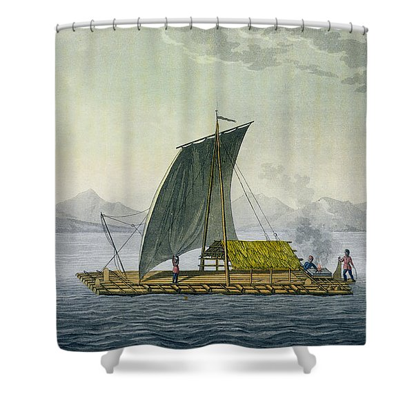 A Raft Leaving The Port Of Guayaquil Shower Curtain