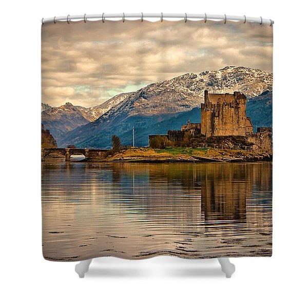 A Reflection At Eilean Donan Castle Shower Curtain
