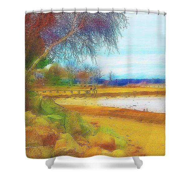 A Rocky Beach Shower Curtain