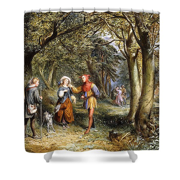 A Scene From As You Like It Rosalind Celia And Jacques In The Forest Of Arden Shower Curtain