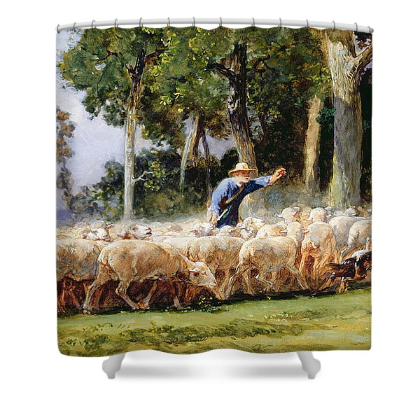 A Shepherd With A Flock Of Sheep Shower Curtain