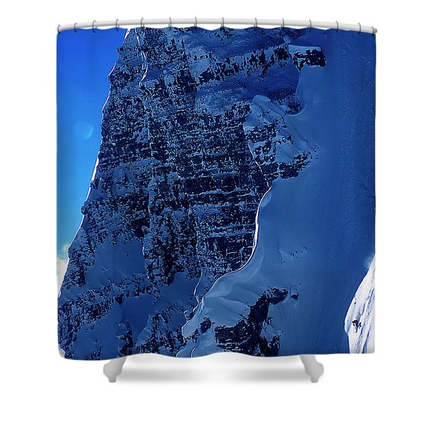 A Skier Drops From Snowy Cliff Shower Curtain