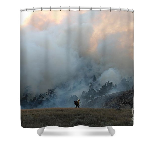 A Solitary Firefighter On The White Draw Fire Shower Curtain